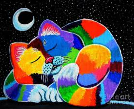 colorful cat colorful cat in the moonlight painting by nick gustafson