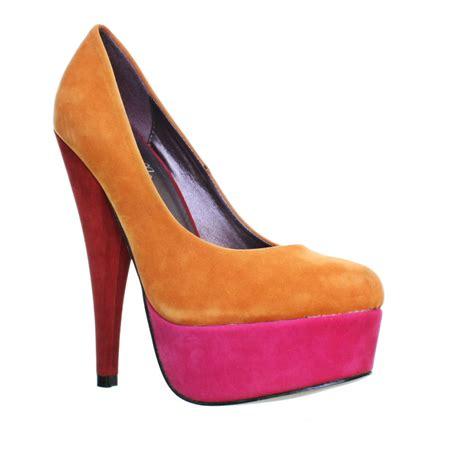 womens colour block orange pink high heel platform