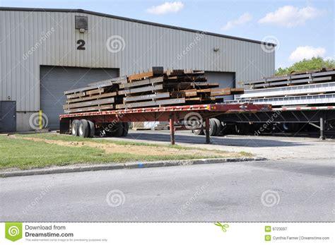 Commercial Garage Plans Steel Beams On Trucks Stock Image Image Of Loading Gates