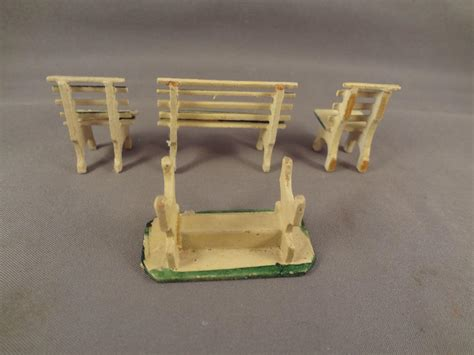 german garden set park bench table chairs in small scale