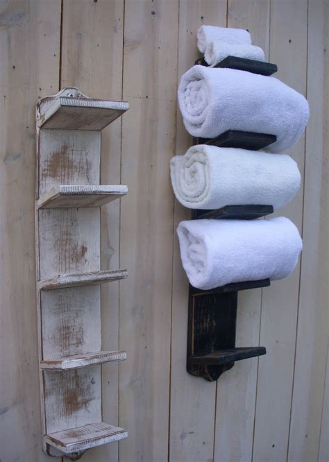 bathroom towel storage handmade towel rack bath decor wood shabby cottage