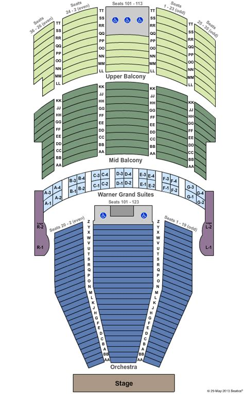 warner theater seating chart perry tickets seating chart warner theatre