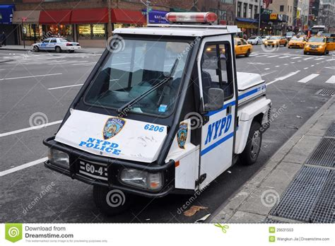 used smart car nyc nypd tricycle car in manhattan editorial stock