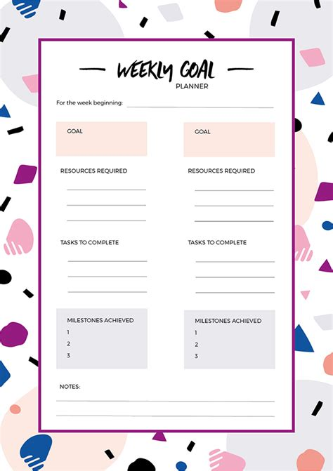 free printable goal planner newsletter freebie weekly goal setting printable make