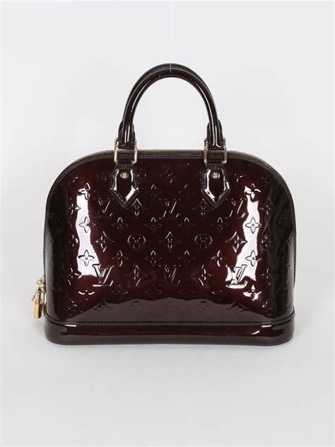 alma pm monogram vernis handbags louis vuitton alma pm monogram vernis leather amarante