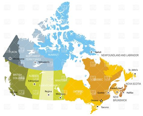 free us canada vector map map of provinces and territories of canada vector image