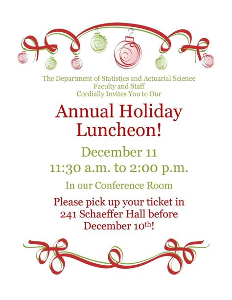 wording for employee holiday luncheon luncheon department of statistics and actuarial science the of iowa
