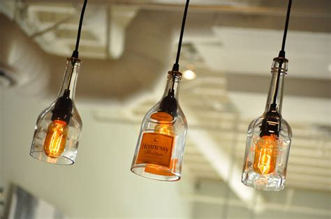 Bottle Pendant Lights Recycled Glass Bottle Hanging Gin L Pendant With Edison