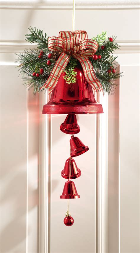 red jingle bells christmas door decor hanging dangler