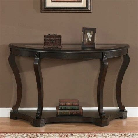half circle entry table half sofa table end furniture living wood glass