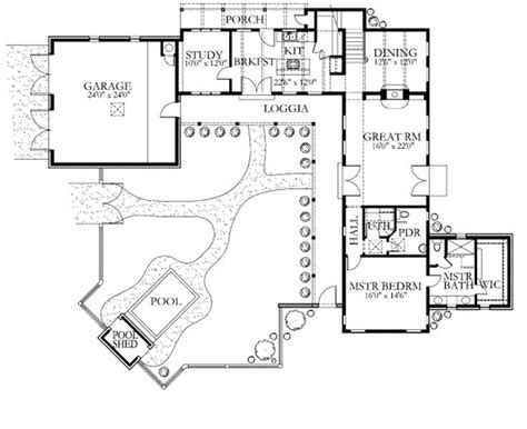 House Plans With Guest Suite by Courtyard Loggia Pool And Guest Suite Floor Plan