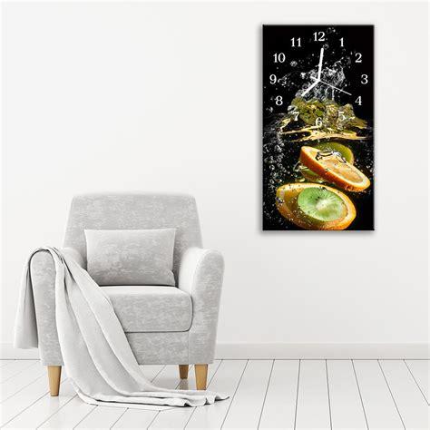 glass kitchen wall clocks kitchen wall clock with fresh fruit size cm 30x60 va