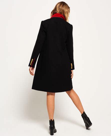 Coat Import Pria Jacket Jaket Wool womens wool coat in black superdry