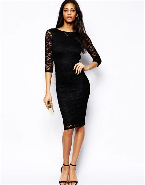 lyst asos low back lace midi bodyconscious dress in black