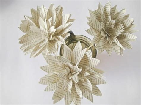 How To Make Stems For Paper Flowers - set of 3 book page paper flowers stem dahlias book paper