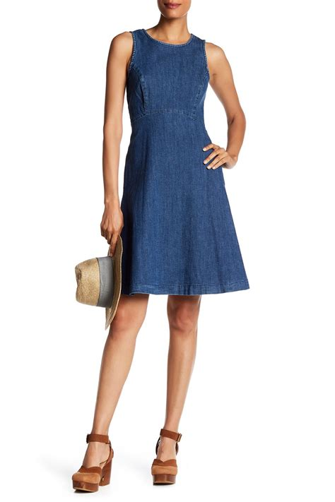 Sleeveless Dress Denim lyst sharagano sleeveless denim dress in blue