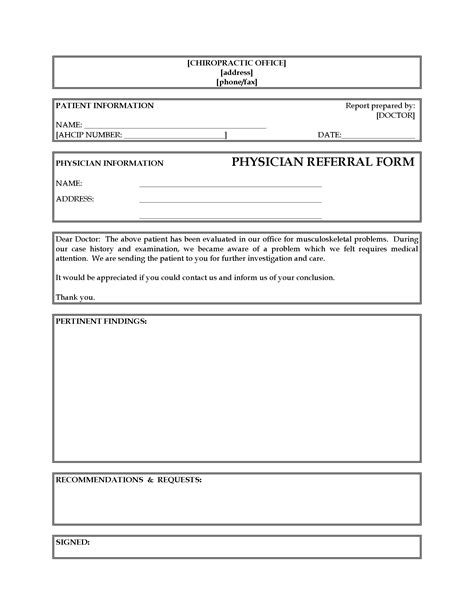 patient referral form template referral form from chiropractor to physician forms
