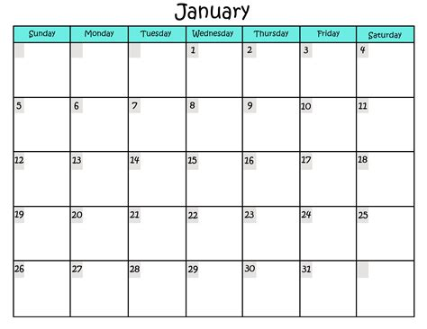 printable january schedule free printable calendar templates activity shelter