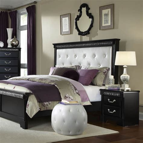 fabric headboard bedroom set standard furniture venetian black 2 piece panel bedroom