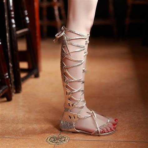Sandal Flat Kepang Mr 26 49 buy wholesale gladiator sandals knee high gold from
