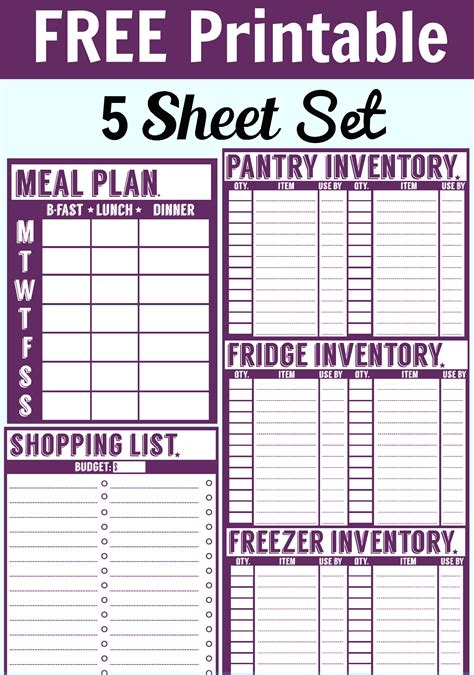 pantry inventory list template free 5 sheet printable set menu planner shopping list