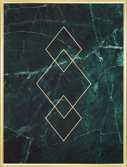 Triangle Marble by Gold Poster With Triangles On Green Marble