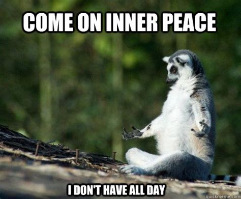 Inner Peace Meme - come on inner peace i don t have all day meditation