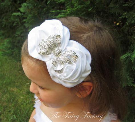 baby rosette 4 duo petal white flower headband satin rosette duo w rhinestone bow