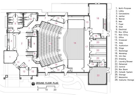 architecture photography auditorium floor plan camelot theatre bruce richey architect aia leed ap bd