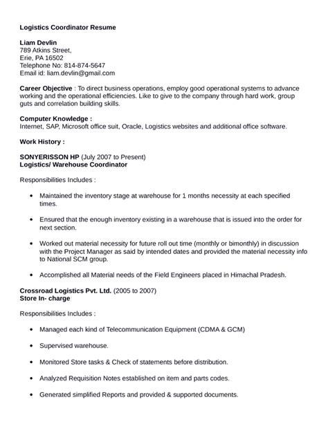 Logistics Coordinator Resume by Professional Logistics Coordinator Resume Template