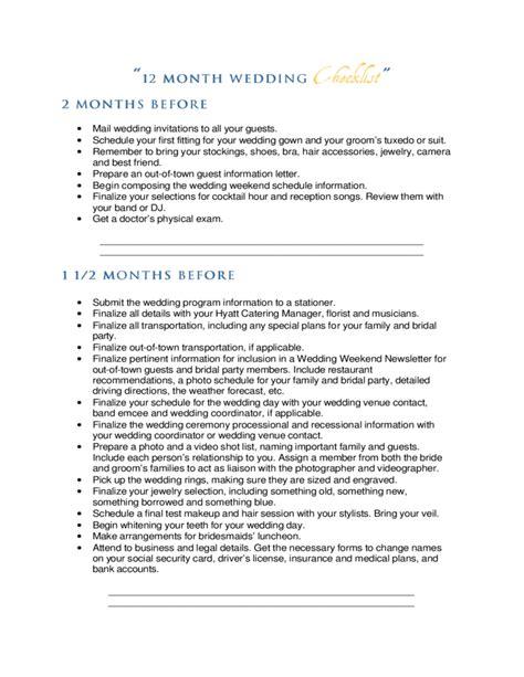 Wedding Checklist A Month Before by 12 Month Wedding Checklist Free