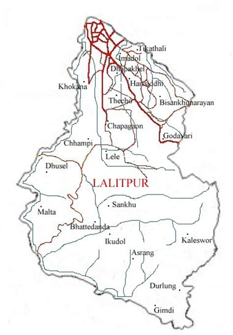 map of lalitpur nepal map of nepal district map of lalitpur