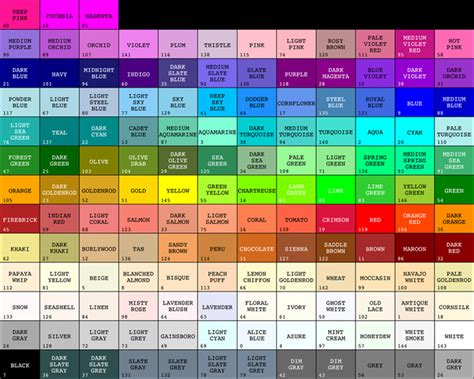 color name color names
