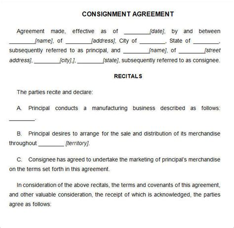 consignment contract template 15 consignment agreement sles and templates pdf word