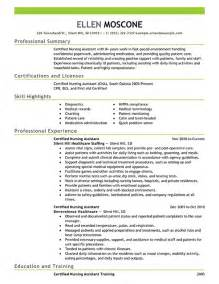 Exle Of A Cna Resume by Certified Nursing Assistant Resume Objective Exles