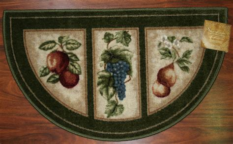 Fruit Kitchen Rugs 19x32 Slice Wedge Kitchen Rug Mat Green Washable Mats Rugs Fruit Grapes Pears Ebay