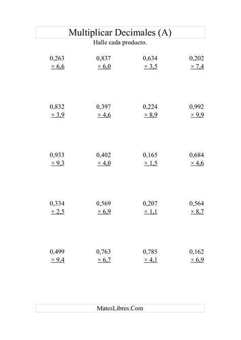 hojas de ejercicios de divisiones para imprimir ejercicios de multiplicaciones para imprimir