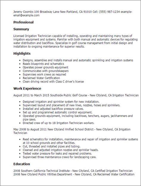 Sprinkler Installer Sle Resume by Professional Irrigation Technician Templates To Showcase Your Talent Myperfectresume