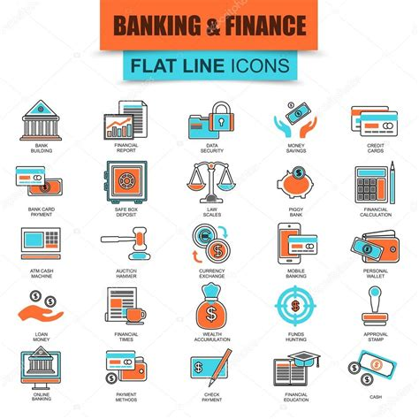 Thin Line Set Of 2 Set Of Thin Line Icons Economics Banking And Financial Services Money Savings Modern Mono