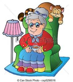 Livingroom Cartoon clip art vector of cartoon grandma sitting in armchair