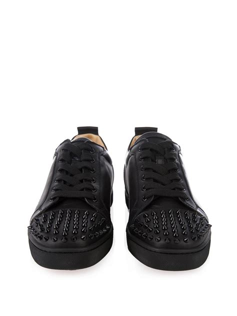 black louboutin sneakers christian louboutin louis junior spikes leather low top