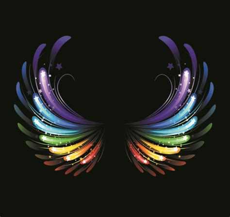 colored wings colored light wing vector material free