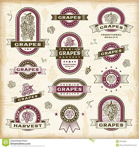 imagenes del estilo retro insieme di etichette dell uva dell annata illustrazione