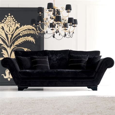 black velvet sofas luxurious modern black velvet three seater sofa
