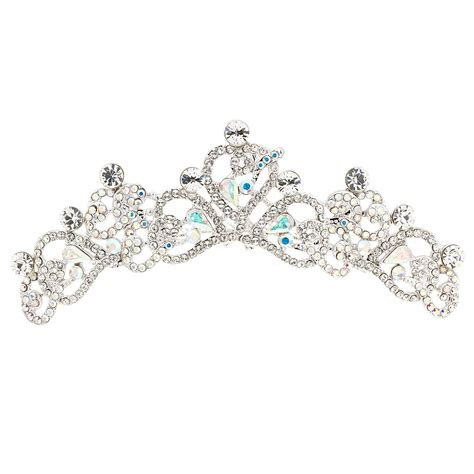 Swarovski Crystal Heart Hair Comb Tiara with AB and Clear Swarovski Crystals Necklaces, Earrings