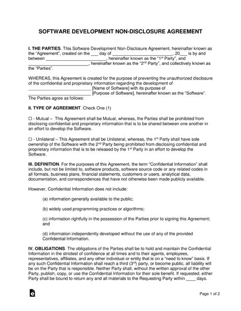 non disclosure agreement for software development