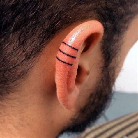 3 lines tattoo three solid black iink lines guys ear designs