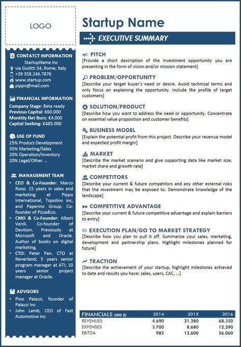Executive Summary Template For Startup A One Page With All The Main Info Summarized With An One Page Pitch Template