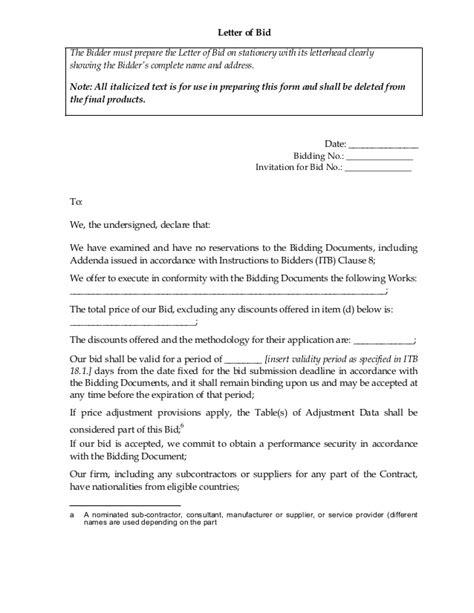 for bid letter of bid