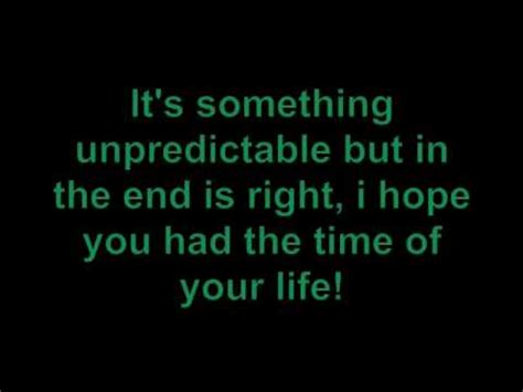 the best time of my green day time of your with lyrics